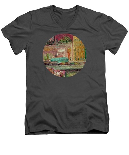 Men's V-Neck T-Shirt featuring the painting View From A Balcony by Mary Wolf