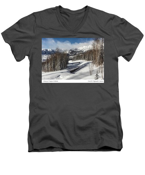 Men's V-Neck T-Shirt featuring the photograph View From A Mountain Above Telluride In Colorado by Carol M Highsmith