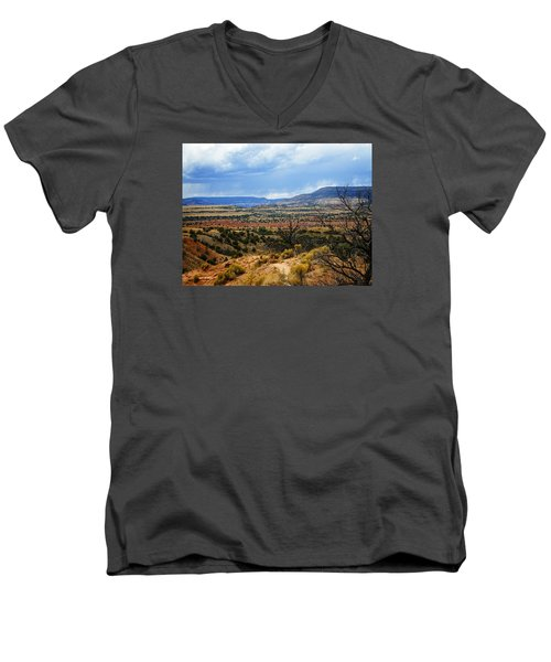Men's V-Neck T-Shirt featuring the photograph View From Ghost Ranch, Nm by Kurt Van Wagner