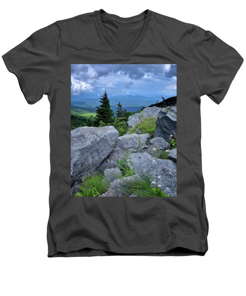 View From Grandfather Mtn Nc Men's V-Neck T-Shirt by Steve Hurt