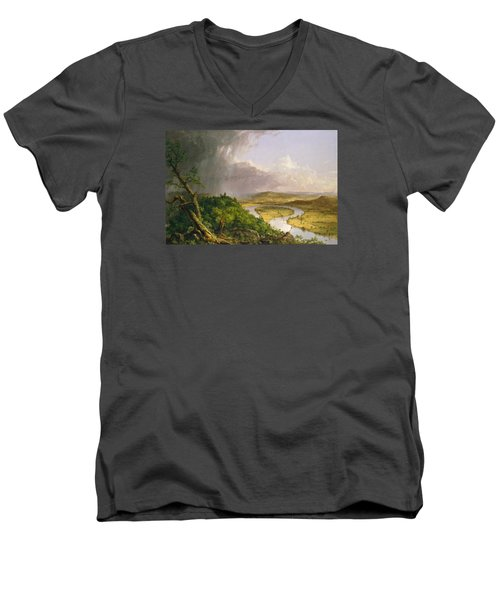 Men's V-Neck T-Shirt featuring the painting View From Mount Holyoke Northampton Massachusetts After A Thunderstorm. The Oxbow by Thomas Cole