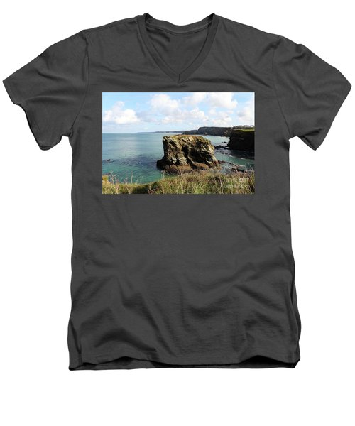 Men's V-Neck T-Shirt featuring the photograph View From Porth Peninsula by Nicholas Burningham