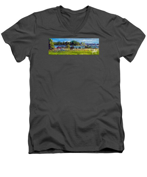 View From Sturgeon City Park Men's V-Neck T-Shirt by Jim Phillips