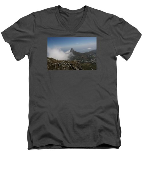 View From Table Mountain Men's V-Neck T-Shirt by Bev Conover