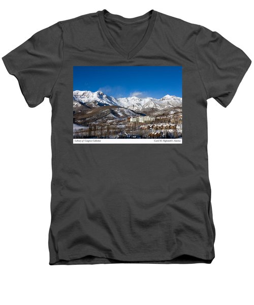 Men's V-Neck T-Shirt featuring the photograph View From The Mountain Above Telluride by Carol M Highsmith
