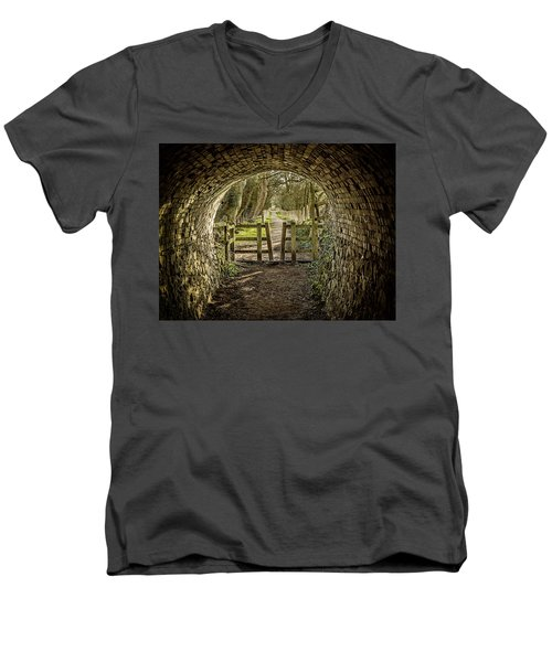 Men's V-Neck T-Shirt featuring the photograph View From The Tunnel by Nick Bywater