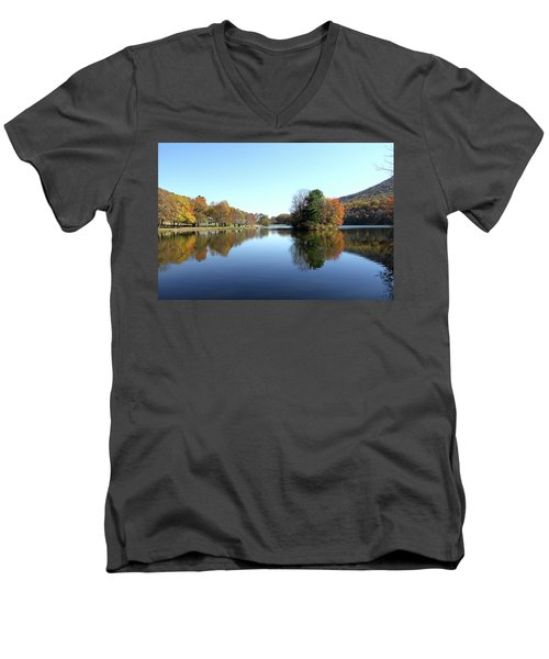 View Of Abbott Lake With Trees On Island, In Autumn Men's V-Neck T-Shirt