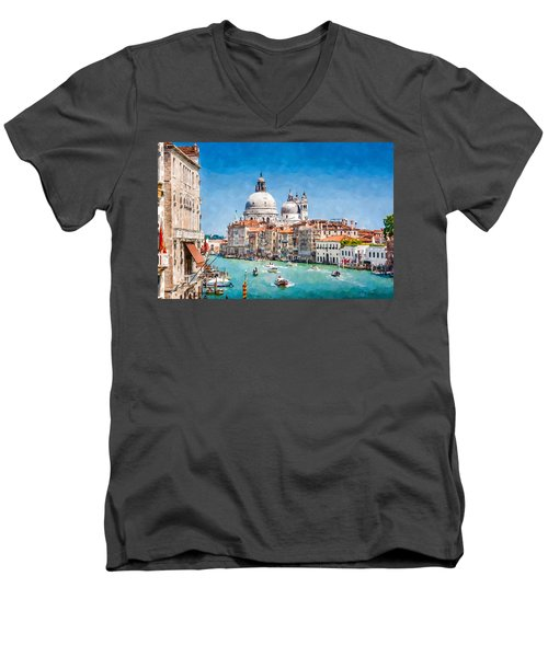 View Of Canal Grande Men's V-Neck T-Shirt by Kai Saarto
