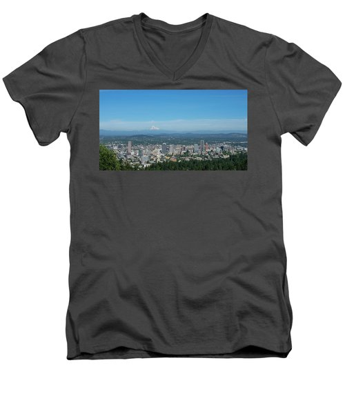 View Of Downtown Portland Oregon From Pittock Mansion Men's V-Neck T-Shirt