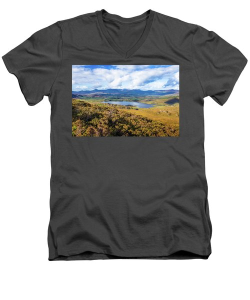 Men's V-Neck T-Shirt featuring the photograph View Of Lough Acoose In Ballycullane From The Foothill Of Macgil by Semmick Photo