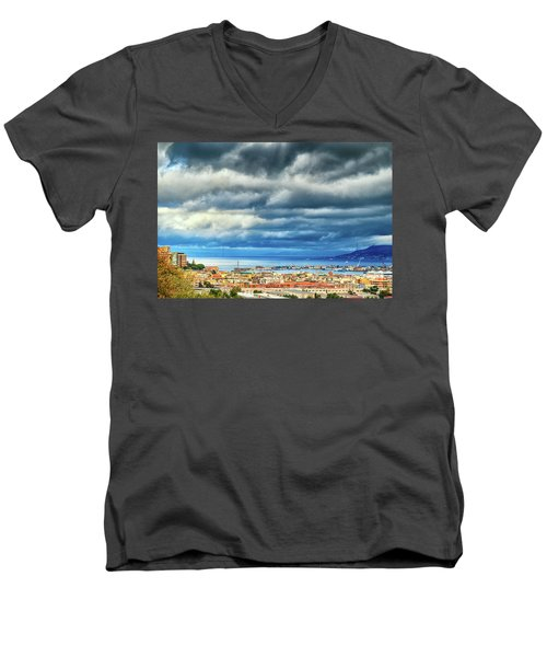 Men's V-Neck T-Shirt featuring the photograph View Of Messina Strait Sicily With Dramatic Sky by Silvia Ganora