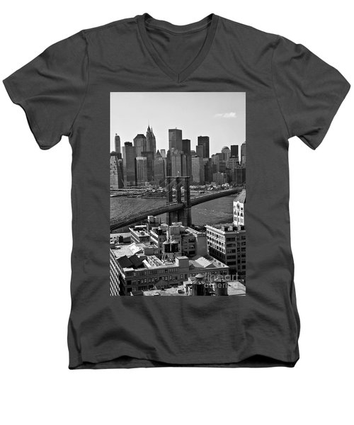 View Of The Brooklyn Bridge Men's V-Neck T-Shirt by Madeline Ellis