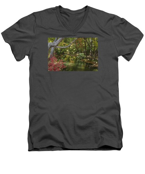 Men's V-Neck T-Shirt featuring the photograph View Of The Mill River by Margie Avellino