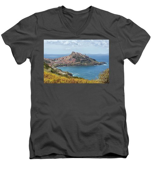 View On Castelsardo Men's V-Neck T-Shirt by Patricia Hofmeester