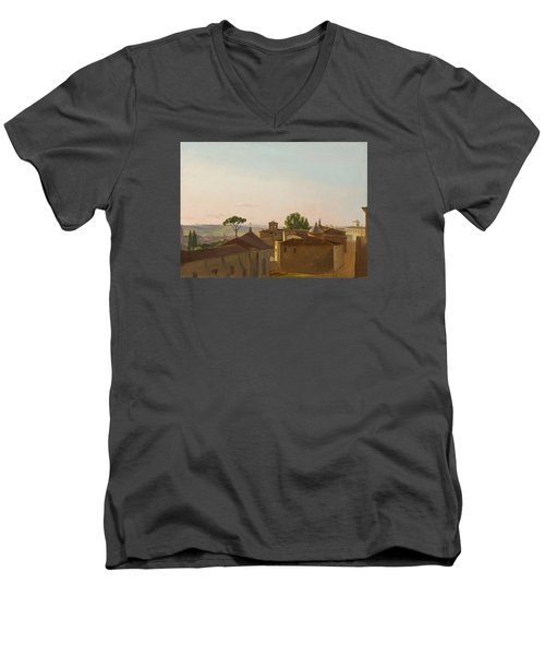 Men's V-Neck T-Shirt featuring the painting View On The Quirinal Hill. Rome by Simon Denis