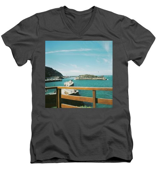 View Over The Ocean Port Men's V-Neck T-Shirt