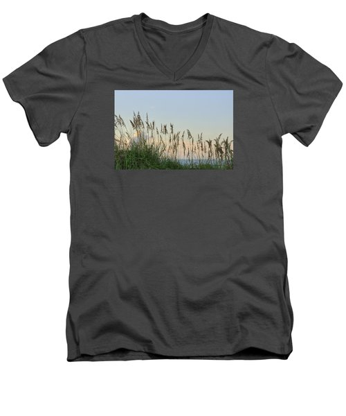 Men's V-Neck T-Shirt featuring the photograph View Through The Sea Oats by Bradford Martin