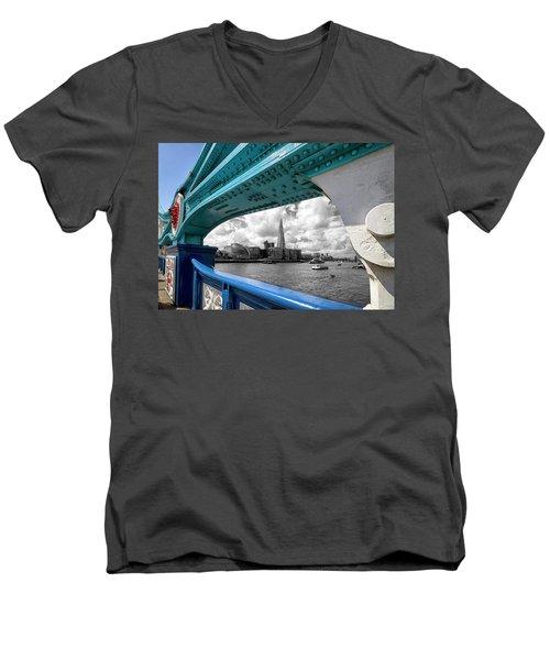 View Through Tower Bridge Men's V-Neck T-Shirt by Shirley Mitchell