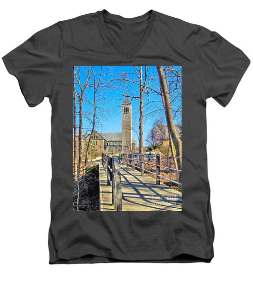 View To Mcgraw Tower Men's V-Neck T-Shirt