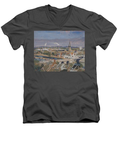 View To The East Bank Of Maastricht Men's V-Neck T-Shirt by Nop Briex