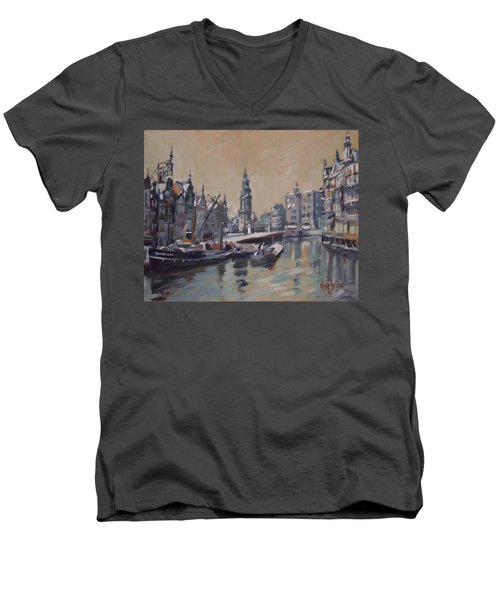 View To The Mint Tower Amsterdam Men's V-Neck T-Shirt by Nop Briex