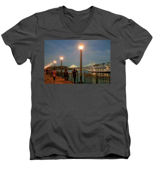 Viewing The Bay Bridge Lights Men's V-Neck T-Shirt