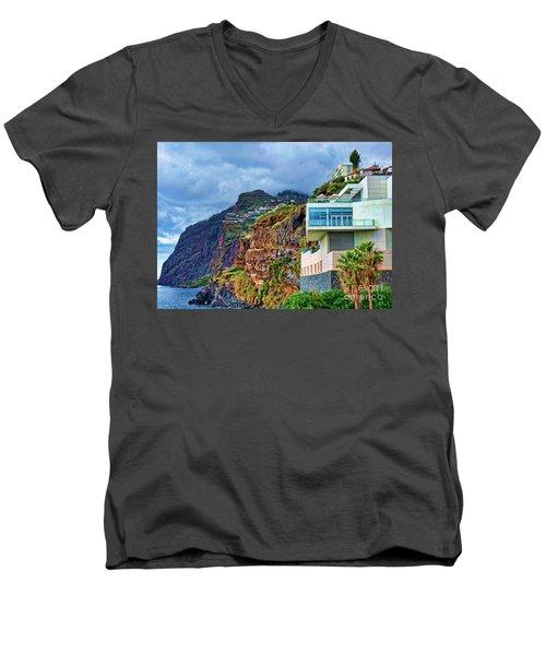 Viewpoint Over Camara De Lobos Madeira Portugal Men's V-Neck T-Shirt