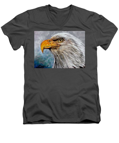 Vigilant Eagle Men's V-Neck T-Shirt by Patricia L Davidson