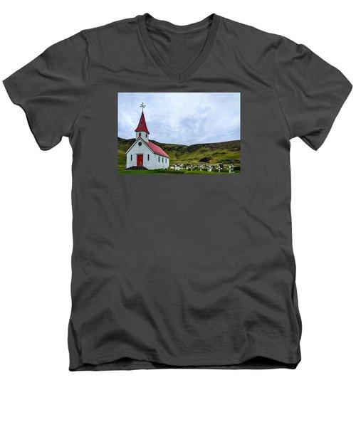 Vik Church And Cemetery - Iceland Men's V-Neck T-Shirt