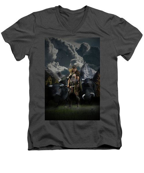Viking Gefjon Men's V-Neck T-Shirt