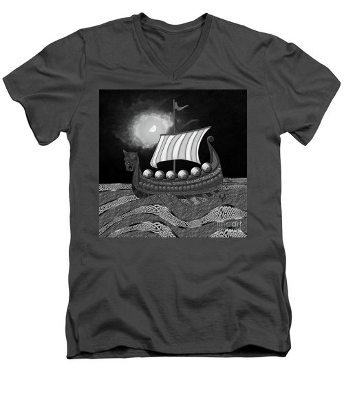 Men's V-Neck T-Shirt featuring the digital art Viking Ship_bw by Megan Dirsa-DuBois