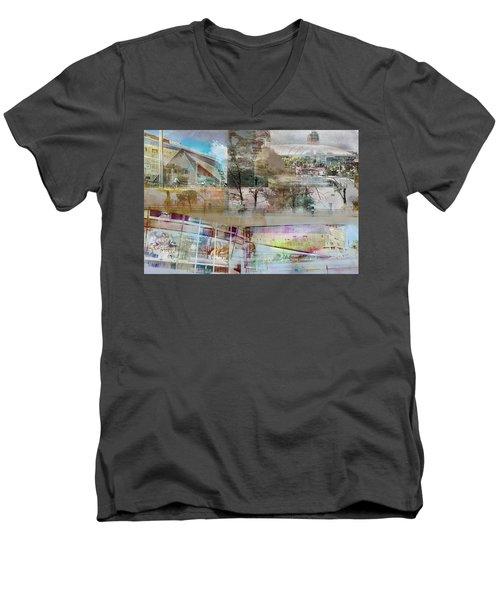 Vikings Stadium Collage 2 Men's V-Neck T-Shirt by Susan Stone