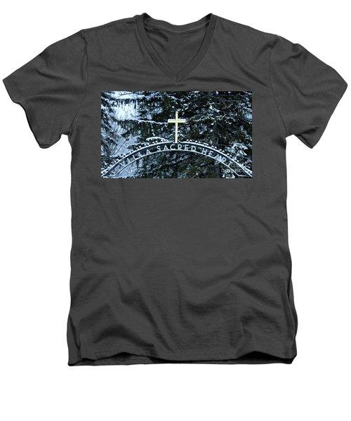 Villa Sacred Heart Winter Retreat Golden Cross Men's V-Neck T-Shirt by John Stephens