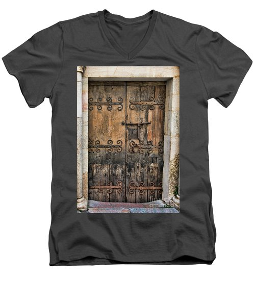 Village Chateau French Old Ancient Door Color  Men's V-Neck T-Shirt