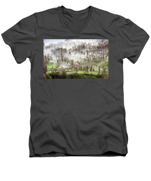 Village Covered With Mist Men's V-Neck T-Shirt