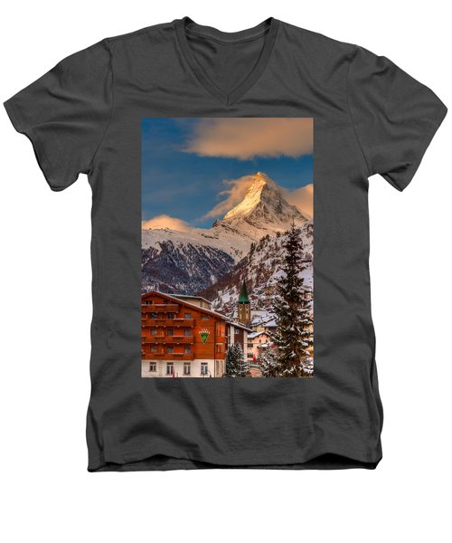 Village Of Zermatt With Matterhorn Men's V-Neck T-Shirt