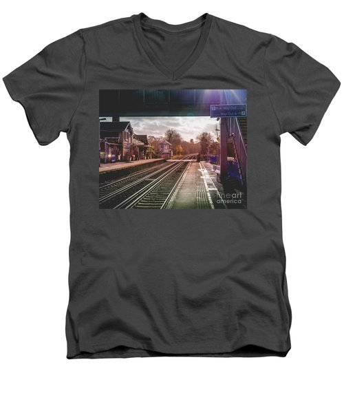 The Village Train Station Men's V-Neck T-Shirt