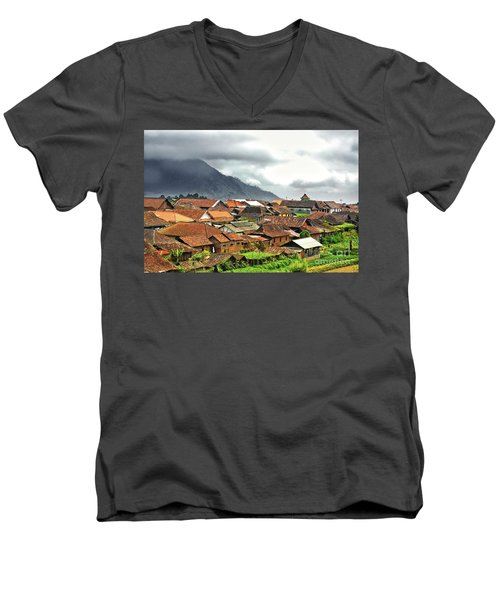 Men's V-Neck T-Shirt featuring the photograph Village View by Charuhas Images