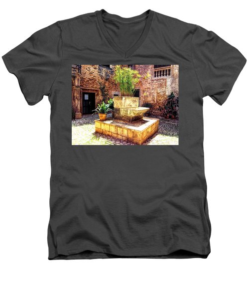 Men's V-Neck T-Shirt featuring the photograph Village Well In Santanyi by Andreas Thust