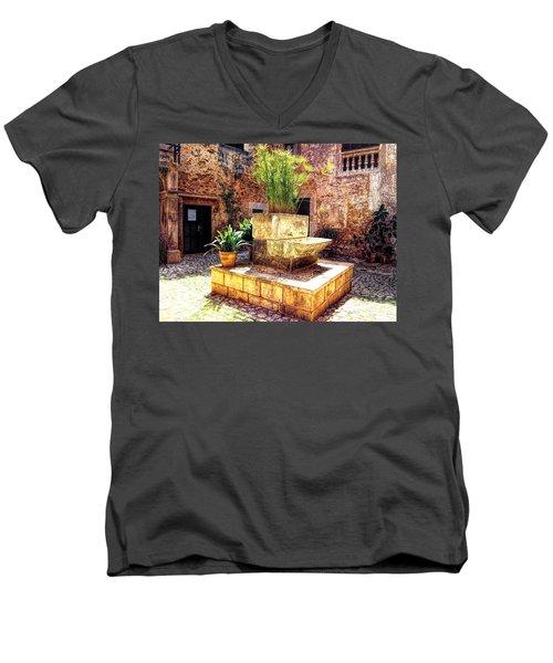 Village Well In Santanyi Men's V-Neck T-Shirt