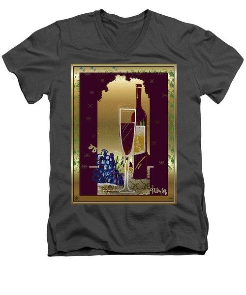 Men's V-Neck T-Shirt featuring the digital art Vin Pour Une by Larry Talley