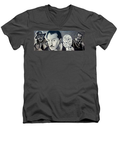 Men's V-Neck T-Shirt featuring the painting Vincent Price by Paul Weerasekera