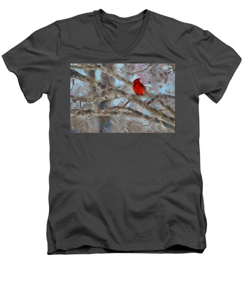 Men's V-Neck T-Shirt featuring the mixed media Vincent by Trish Tritz
