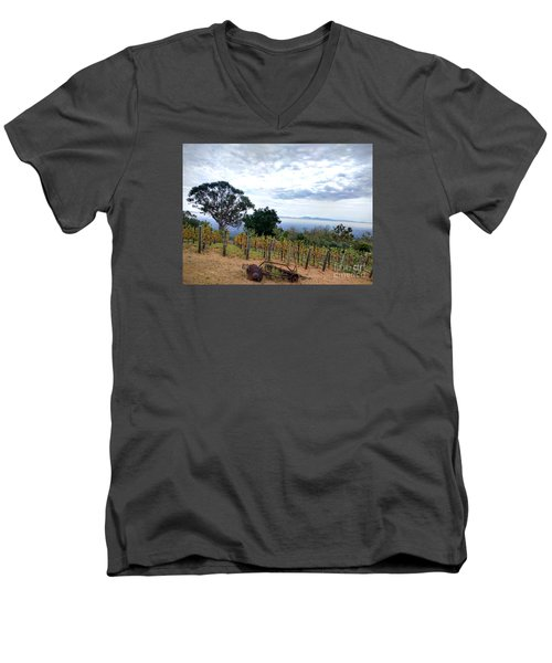Men's V-Neck T-Shirt featuring the photograph Vineyard Over The City by Haleh Mahbod