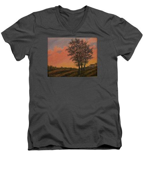 Vineyard Sundown Men's V-Neck T-Shirt by Kathleen McDermott