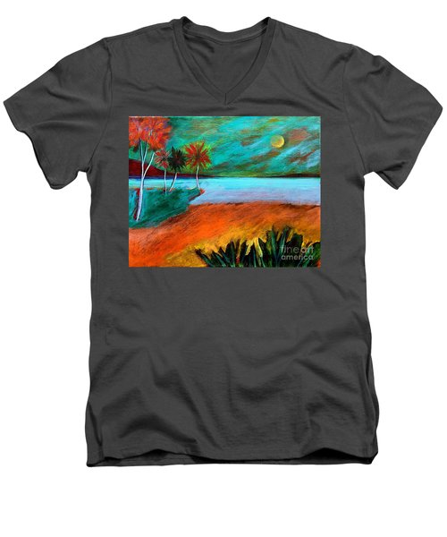Vinoy Park Twilight Men's V-Neck T-Shirt by Elizabeth Fontaine-Barr