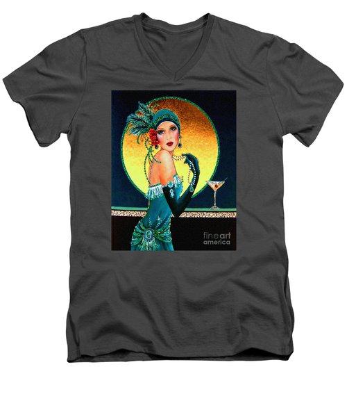 Vintage 1920s Fashion Girl  Men's V-Neck T-Shirt