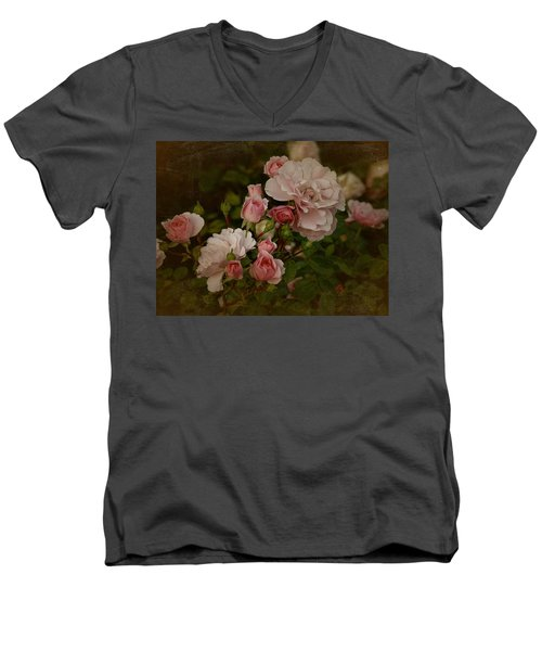 Men's V-Neck T-Shirt featuring the photograph Vintage June 2016 Roses by Richard Cummings