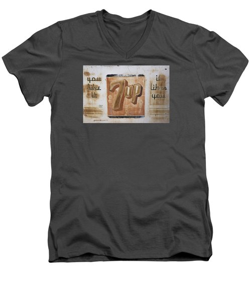 Men's V-Neck T-Shirt featuring the photograph Vintage 7 Up Sign by Christina Lihani