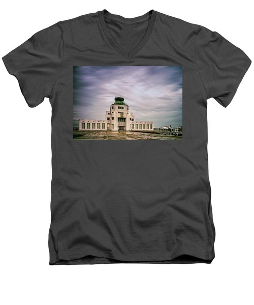 Vintage Architectural Photograph Of The 1940 Air Terminual Museum - Hobby Airport Houston Texas Men's V-Neck T-Shirt